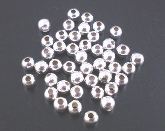 100 PCS 4mm Silver Plated Smooth Ball Spacer Beads