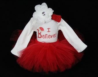 Baby's First Christmas Outfit - Personalize 1st Christmas - My First Christmas Tutu - I Believe - My First Christmas - CT1507