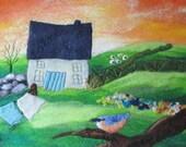 felt painting, felt landscape, fibre wall art, nuthatch picture, 20x16 inches