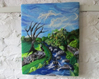 felt art, handfelted painting, original art, river picture, 20 x 16inches