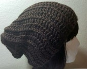 CLEARANCE Dark Brown Slouch - Crochet Slouchy Beanie - Slouchy Hat - Ribbed Beanie - Hipster Hat