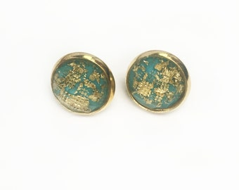 gold foil stone studs//teal