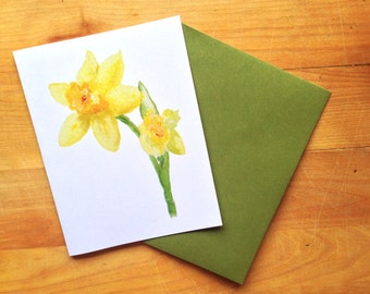 Watercolor Daffodil Folded Note Stationery