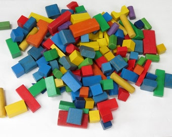 Vintage Colored Wooden Block Collection - Old Wooden Blocks - Vintage Childrens Wooden Blocks - Old Colorful Blocks