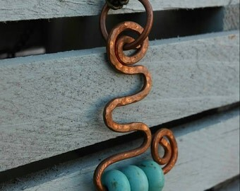 Copper swirl Necklace Pendant turquoise necklace