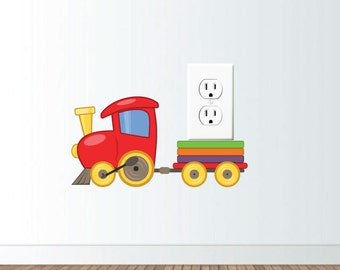 Toy Train Wall Vinyl Decal to decorate Electrical Wall Plate or Light Switch, hs0293