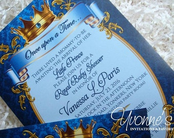Royal Prince Baby Shower Invitations - Royal Blue Gold - Baby Shower, Baby's First Birthday