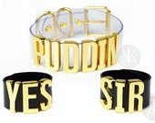 """Harley Quinn """"PUDDIN"""" Choker + """"YES SIR"""" Cuffs 