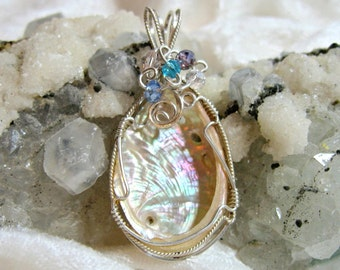 Baby Abalone Pendant, Paua Shell Pendant Solid 935 Sterling Silver Wire Wrapped with Argentium Anti Tarnish wire