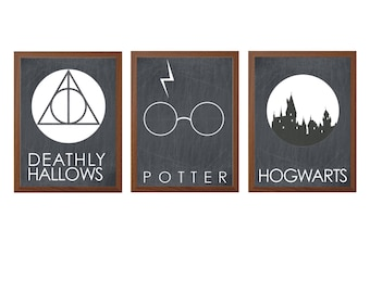 HARRY POTTER | Deathly Hallows Hogwarts Poster : Modern Illustration Glasses Movie Retro Art Wall Decor Print