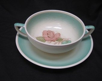 "Vtg Susie COOPER ""PATRICIA ROSE"" Green Burslem Cream Soup Bowl & Saucer Set"