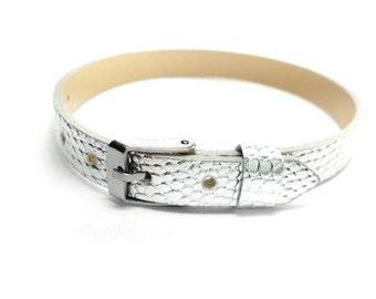 8mm Silver Leatheroid 8mm Slider Wristband - 8mm Alphabet Slide Letter Band Wristband
