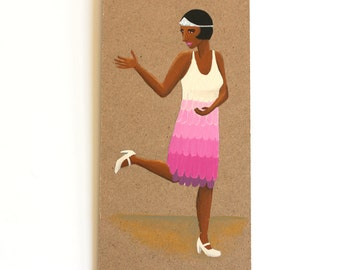 Jazz age dancing girl illustration original painting great as a housewarming gift for fashion lovers and style lovers , gift for a dancers