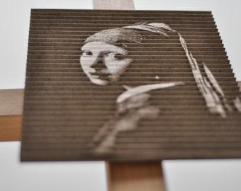 "Cardboard Art - Laser Cut Art - Recycled Cardboard Art Posters - ""Girl With a Pearl Earring"" by Johannes Vermeer"