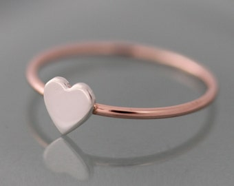 Rose Gold Ring Tiny Heart 14k SOLID Gold 1mm Band with Sterling Silver Hand Cut Heart Stacking Ring