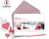 Valentine Photo Card - HUGS AND KISSES Printable