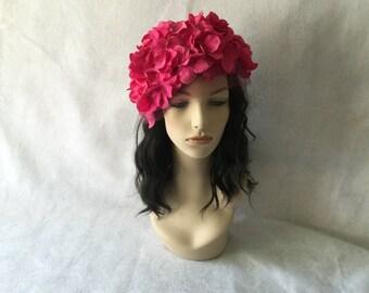 Bright Pink Hydrangea Flower Wedding Fascinator with raspberry veil, Hot Pink Kentucky Derby Flower crown headpiece, Headband fascinator