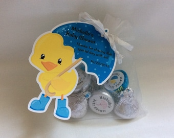 Unique Personalized Duck with umbrella theme Party favor tags, Gift tags for baby shower or birthdays any occassion