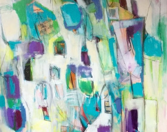 Large Abstract Art/ Painting Original, Colorful, Urban