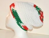 Christmas colored crochet slouchy beanie , Adult beanie hat, Holiday winter hat, Ready to ship, White Red and Green hat