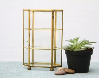 Vintage Glass and Brass Geometric Shaped Display Case Trinket Curio Box 3 Shelves