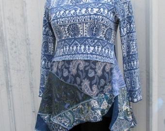 Women's Tunic - Romantic Top - Artistic Clothing - Slate Denim - Mori Girl - Flattering Fitted Tshirt - Long Sleeves