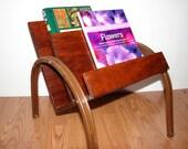 Wood Magazine Rack with Metal Legs, Vintage Plywood Magazine Holder, MCM Wooden Book Rack, Craft Organizer