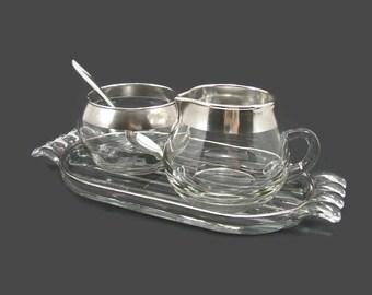 Silver Band Sugar & Cream on Glass Tray, Dorothy Thorpe Style Silver Band Creamer and Sugar Bowl, Silver Rim Ribbed Glass Tray, Oneida Spoon
