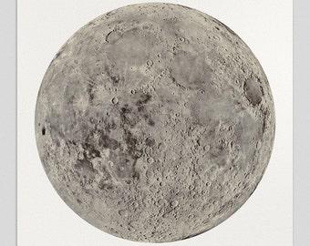 Moon Art Print, Full Moon, Moon Print, Moon Poster, Lunar Art - Unframed