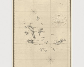 Old Galapagos Islands Map Art Print 1798 Antique Map Archival Reproduction