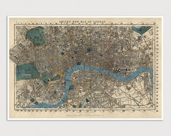 Old London Map Art Print 1860 Antique Map Archival Reproduction