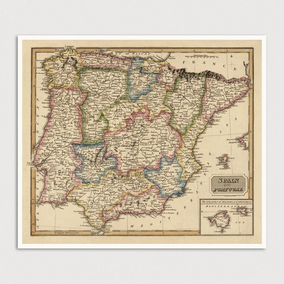 Old Spain Map Art Print 1817 Portugal Map Antique Map Archival Reproduction