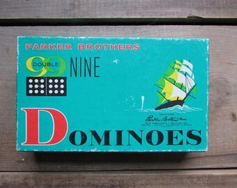 Dominoes Vintage Double Nine Clipper Ship 1960