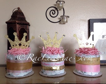 Princess or Prince diaper cake/Prince Baby shower decorations/princess baby shower decorations/little prince/little princess/crown decor
