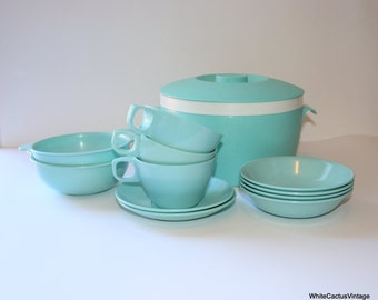 Mallo Ware, Thermo Ware Turquoise Set, Large Mid Century Plastic Serving Kitchen Dining Set, 1950s Dinner Home Decor, Ice Bucket