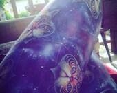 Intergalactic Feline Leggings - Artist Leggings, yoga leggings, digital print leggings, boho leggings, art leggings, sublimation leggings