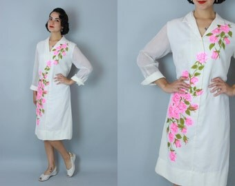 1960s As Sweet dress | vintage 60s 'Alfred Shaheen' rose print cotton voile dress | medium