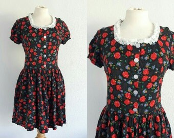 Vintage 90s Floral Rose Babydoll Dress  - US 6 EU 38 UK 10