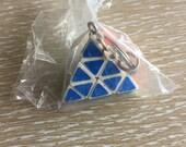NOS 1980s Vintage Rubix Cube Pyramid, Triangle Keychain, Retro Key Chain, Keyring