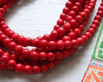 """6mm Red howlite beads - 16"""" strand of dyed howlite beads, 6mm round red beads, red howlite strand, Boho jewelry supplies, 6mm round howlite"""