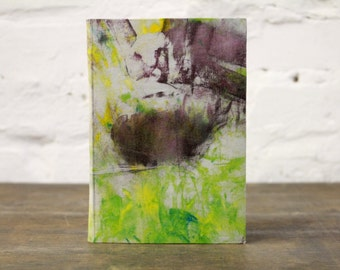 "Upcycled Hardcover Notebook ""Pareidolia"" from printing ink cleaning rags"