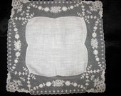 Lace Hankies Bridal Handkerchief, Vintage Handkerchief, Gift for Bride Hankie White Lace Hankerchief