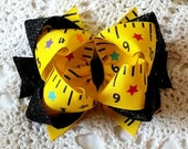 School Hair Bow...Ruler Hair Bow....Glitter Hair Bow...Back to School Bow...Toddler Hair Bow..Ruler Bow..Yellow Ruler Bow