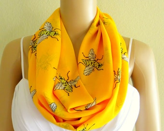 Bee Print Circle Scarf. Printed Infinity Scarf. Soft Chiffon Loop Scarf. Gold Pattern Circle Scarf.