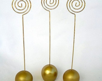 Gold Table Card Holder Wedding Table Card Holders Gold Ball Wire Tall Classy Elegant Gold Sign or Menu Holders Table or Place Card Holders
