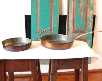 Vintage copper pans by Tagus Portugal X2