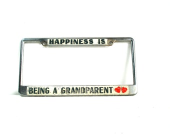 Vintage License Plate Frame Holder Happiness Is Being A Grandparent Auto License Holder