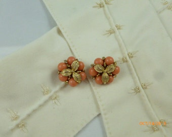 Vintage Coral Gold Tone Clip On Earrings