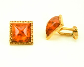 1950s AMERIK Cufflinks Mens Vintage Amber-Look Gold Tone Metal Mid Century Modern Mad Men Era Cufflink Set