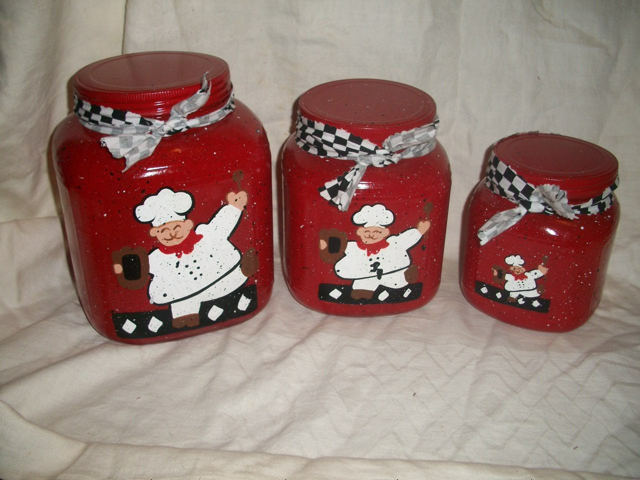 Fat Chef 3 Pc Canister Set Red Personalized Free